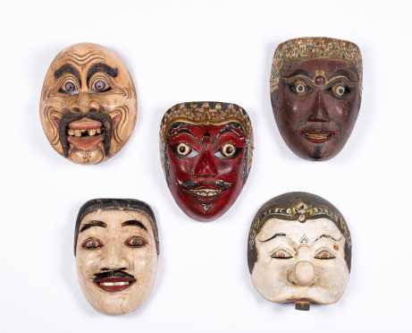 "Lot of Five Old ""Bali"" Masks"