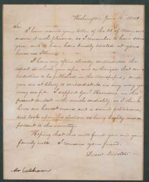 Daniel Webster Handwritten Letter and Envelope