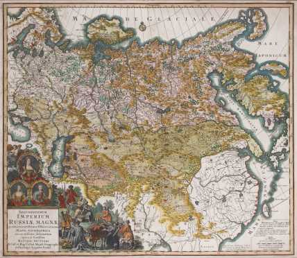 Matthaus Seutter, Hand Colored Map of Russia
