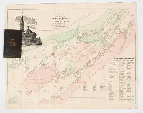 """1876"" Folding Map of Thousand Islands, St. Lawrence River"