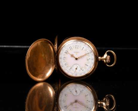 14K Gold Elgin Fancy Face Pocket Watch