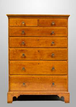 Rhode Island Tiger Maple Seven Drawer Tall Chest