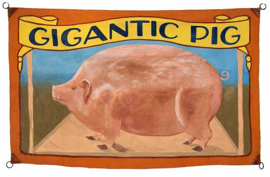 Circus Banner Depicting a Pig