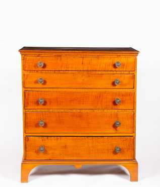 Chippendale Curly Maple Five Drawer Chest of Drawers