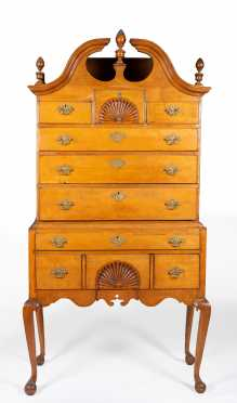Massachusetts Maple Queen Anne Bonnet Top Highboy