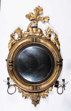 E19thC Girondale Gilded Mirror with Candle Arms