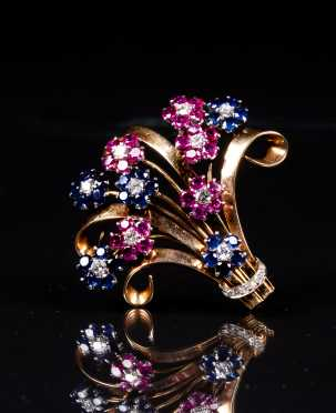 Yellow Gold and Platinum Ruby, Sapphire, and Diamond Brooch