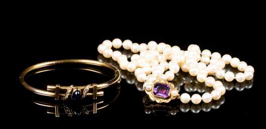 Victorian Bangle and Pearl Necklace