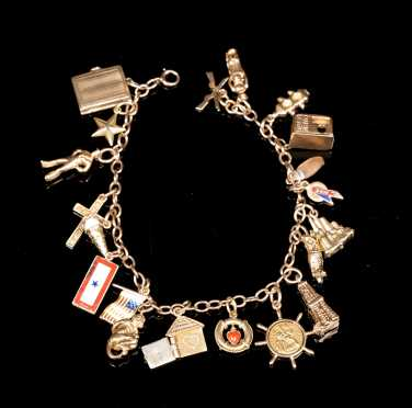 Yellow Gold Charm Bracelet with Eighteen Charms