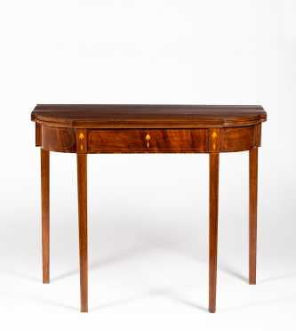 New England Hepplewhite Mahogany Card Table