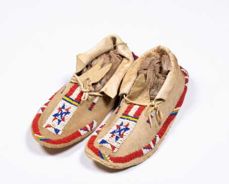 Native American Beaded Pair of Moccasins
