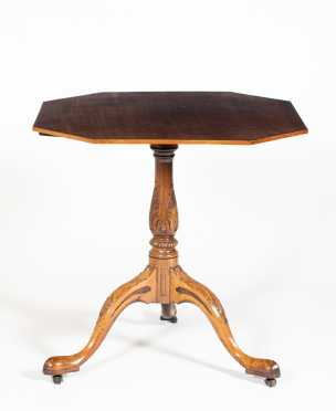 Mahogany Tip and Turn Pad Foot Tea Table