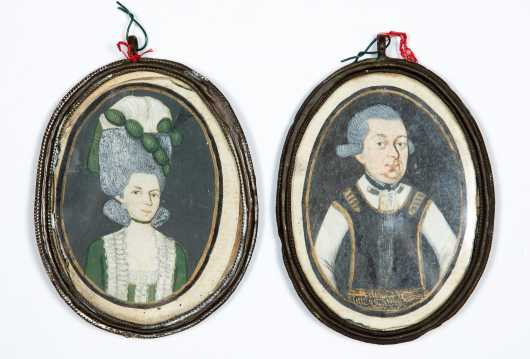 Pair of 18thC Miniature French Watercolor Paintings on Paper
