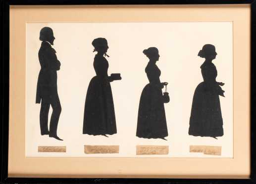Quadruple Silhouette of the Coolidge Family of Boston
