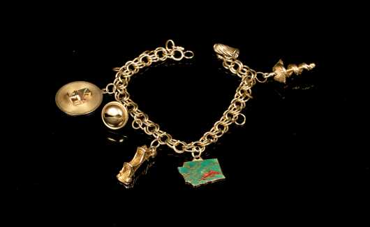 Yellow Gold Charm Bracelet with Six Charms