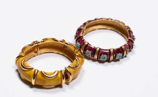 Two Gold Tone and Enamel Bangles