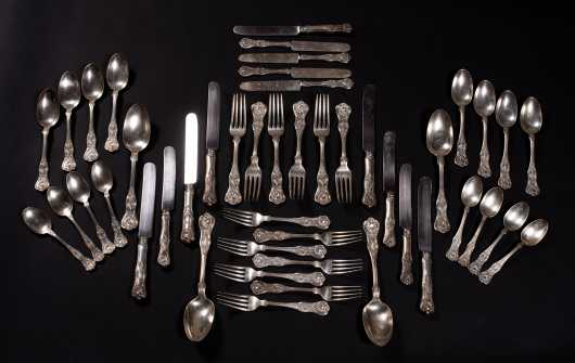 """Kings"" Pattern Sterling Silver Table Service for Six"