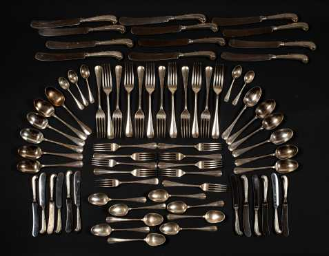 English Sterling Silver Table Service for Eleven
