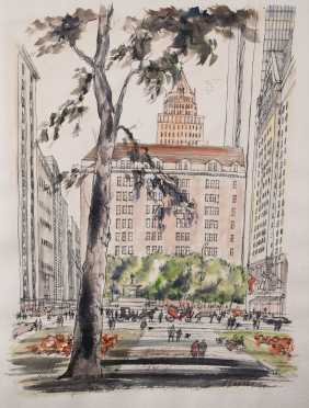 New York City--Large Ink and Watercolor Illustration, Grand Army Plaza, 1974