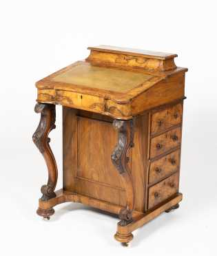 Biedermeier Davenport Desk with Carved Scrolled Legs