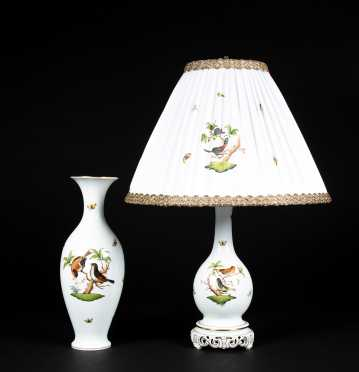 """Herend"" Porcelain Lamp and Tall Vase"