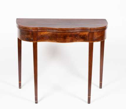 Mahogany Hepplewhite Serpentine Front Card Table