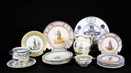 Lot of Henriot Quimper Pottery and Faience Plates