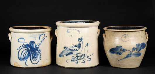Three Pieces of Blue Decorated 19thC Stoneware