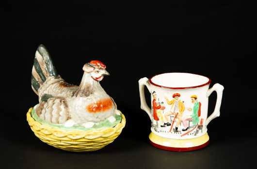 Staffordshire Pottery Frog Mug and Chicken Nest