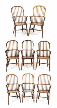An Assembled Set of Eight English Windsor Arm Chairs