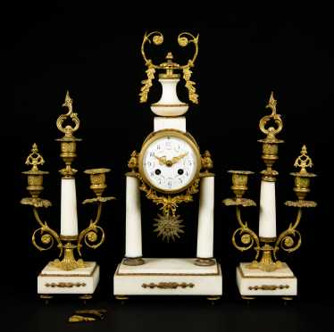 French Three Piece Marble and Gilt Bronze Clock Set