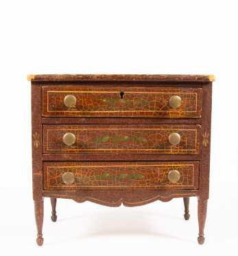 1820's Doll Three Drawer Sheraton Chest of Drawers