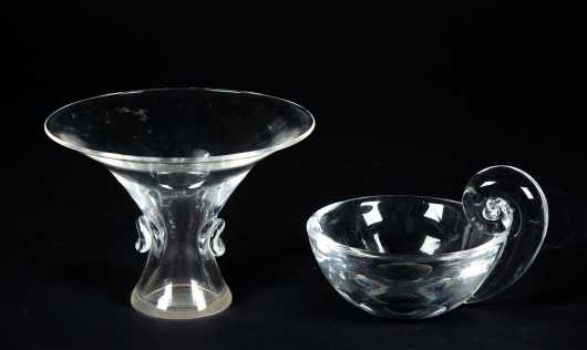 "Two Pieces of Clear ""Steuben"" Glass"