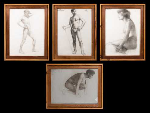 Four Charcoal Drawings by Edith Jane Bacon