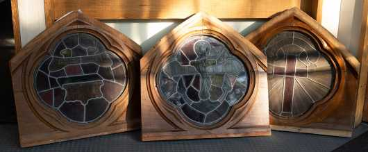 Three Quatrefoil Stained Glass Windows