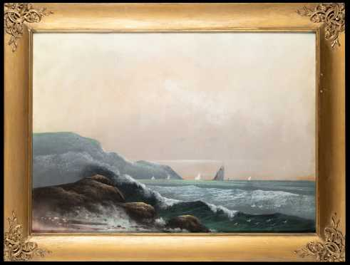 New England Coastal Scene, School of Darch Lewis, Pastel