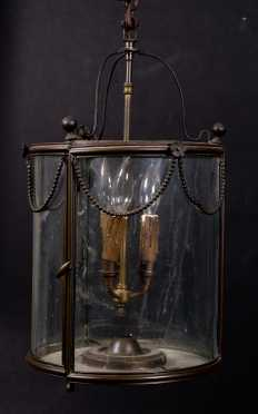 French Electric Glass and Brass Hall Lantern