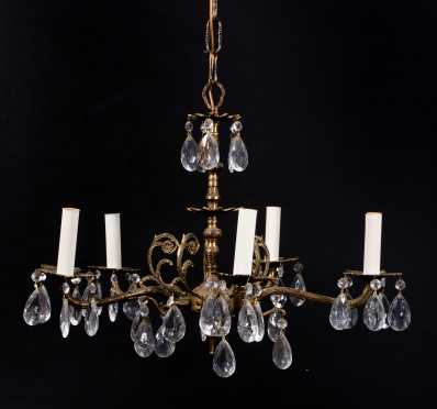 Five Arm Brass Chandelier