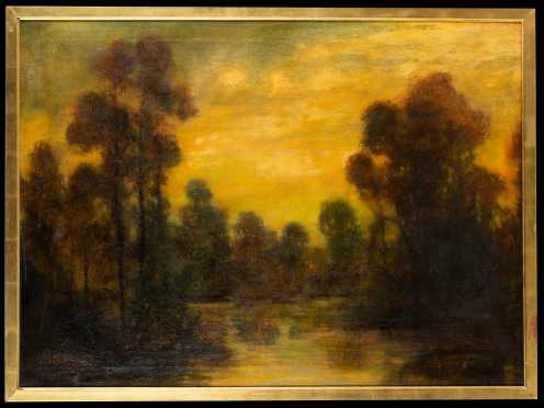 Early 20thC Oil Painting of a Lake at Sunset