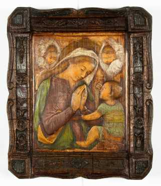 Italian Carved and Painted Plaster Madonna and Child