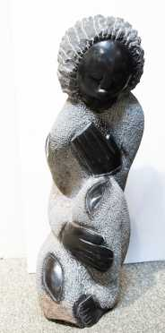 South African Granite Sculpture of a Kneeling Figure