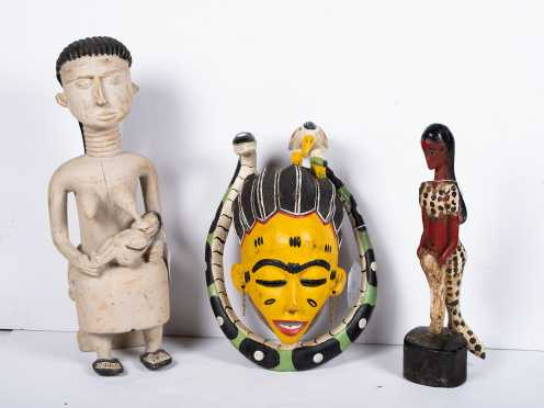 Three African Painted Wood Carvings