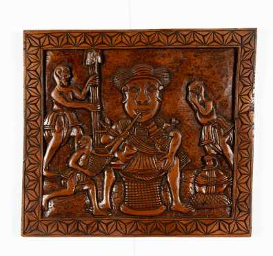 South Seas Asian Relief Carved Wooden Panel