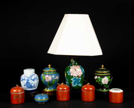 Cloisonne Lamp and Eight Pieces Chinese Covered Articles