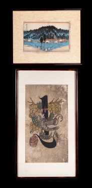 Korean Ink and Watercolor Painting and Japanese Block Print