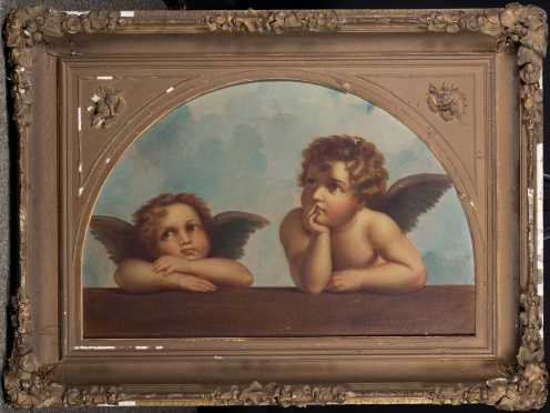 "L19thC ""Putti Listening"" Painting"