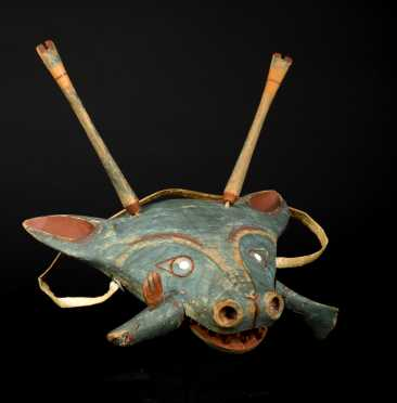 Rare Northwest Coast Carved and Painted Yupik Dance Mask