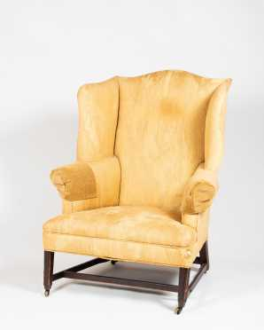 New England Hepplewhite Molded Leg Mahogany Wing Chair