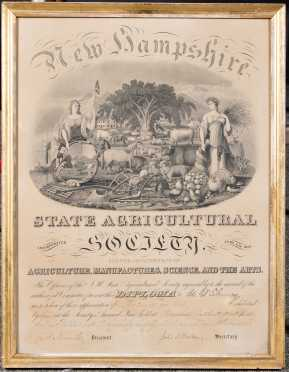 New Hampshire State Agricultural Society Diploma