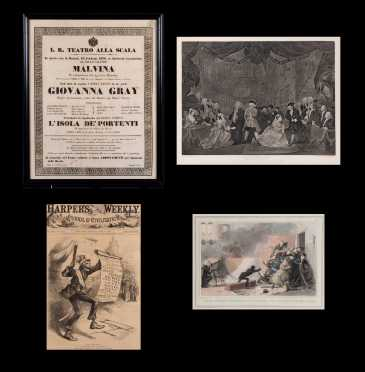 "1836 Italian Opera Broadside, Print ""Beggars Opera Act III"" and 1880 Harper's Weekly Cover and English 1832 Colored Print"